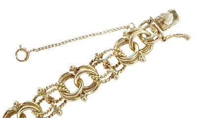 Vintage Heavy Double Link Rope & Smooth Link Charm Bracelet in 14 Karat Gold - Item: GBR121 - Image: 1