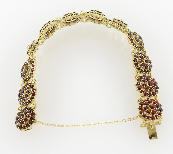 Bohemian Garnet Flower Blossom Link Bracelet in Sterling Silver with Yellow Gold Vermeil - Item: GBR128 - Image: 2