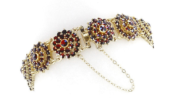 Bohemian Garnet Flower Blossom Link Bracelet in Sterling Silver with Yellow Gold Vermeil