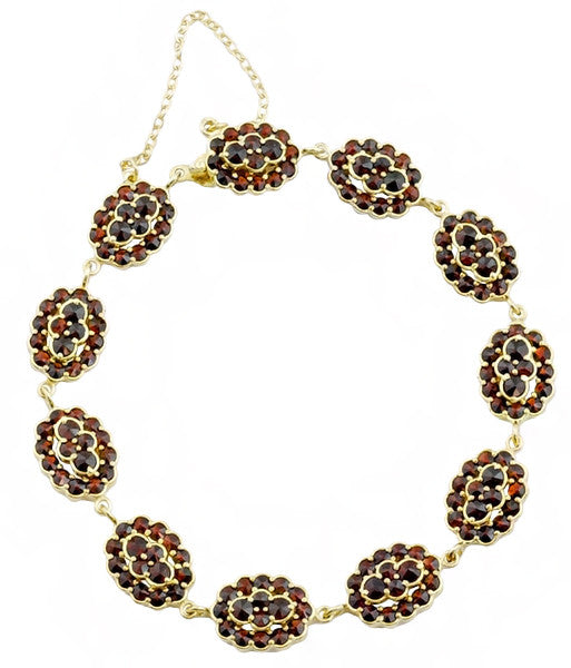 Bohemian Garnet Floral Clusters Bracelet in Yellow Gold Vermeil over Sterling Silver - Victorian Vintage Replica Circa 1900