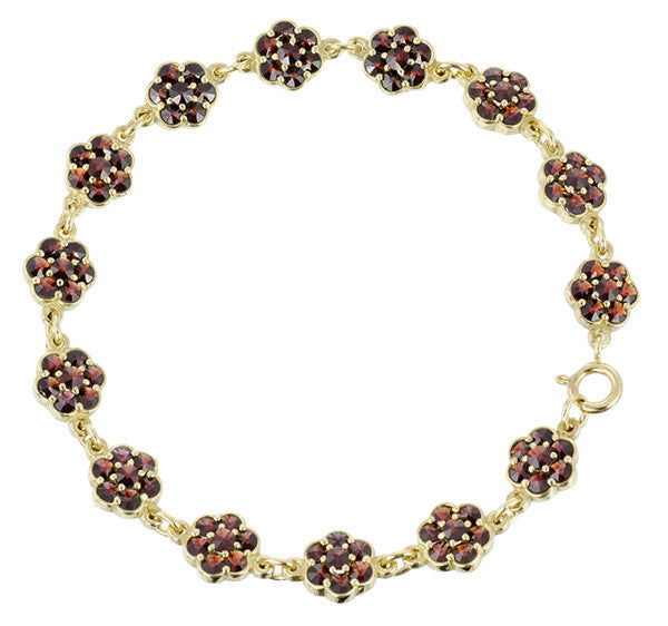 Victorian Flowers Bohemian Garnet Bracelet in Sterling Silver with Yellow Gold Vermeil - Item: GBR134S - Image: 1