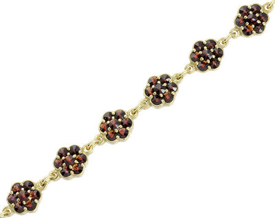 Victorian Flowers Bohemian Garnet Bracelet in Sterling Silver with Yellow Gold Vermeil