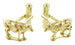 Cow Cufflinks in 14 Karat Yellow Gold