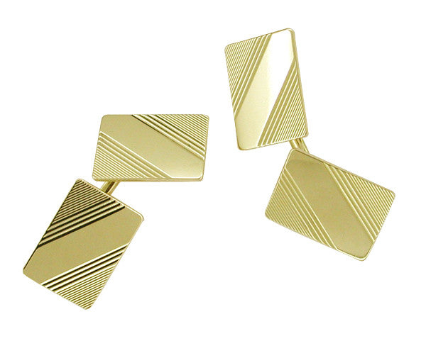 Mid-Century Rectangle Antique Cufflinks in 14 Karat Gold
