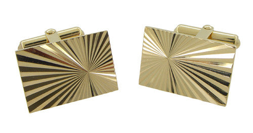 Mid-Century Antique Starburst Cufflinks in 14 Karat Gold