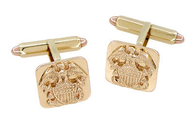 United States Navy Antique Cufflinks in 14 Karat Gold