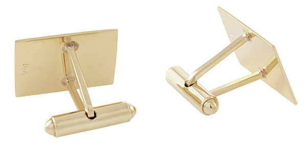 Vintage 1950's Engraved Cufflinks in 14K Yellow Gold | Retro Engravable Initials Cuff Links - Item: GCL161 - Image: 2