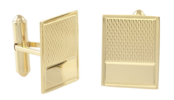 Vintage 1950's Engraved Cufflinks in 14K Yellow Gold | Retro Engravable Initials Cuff Links - Item: GCL161 - Image: 1