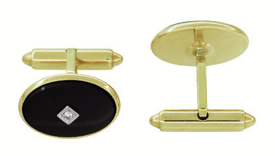 Mid-Century Oval Onyx and Diamond Vintage Cufflinks in 14 Karat Yellow Gold - Item: GCL164 - Image: 1