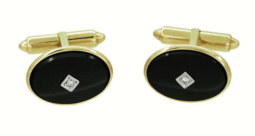 Mid-Century Oval Onyx and Diamond Vintage Cufflinks in 14 Karat Yellow Gold