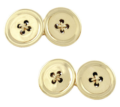 1950's Threaded Button Cufflinks in 14 Karat Yellow Gold