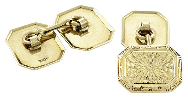 Vintage Art Deco Engraved Cufflinks in 14K Yellow Gold - Item: GCL166 - Image: 1