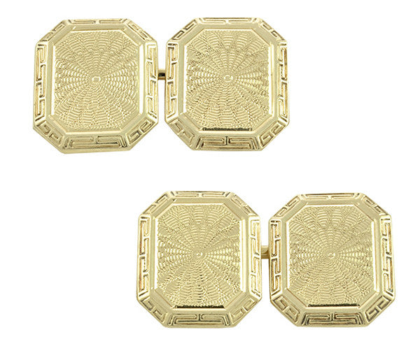 Vintage Art Deco Engraved Cufflinks in 14K Yellow Gold