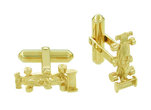 Race Car Cufflinks in 14 Karat Yellow Gold