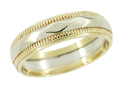 Geometric Vintage Wedding Ring in 14 Karat Yellow and White Gold - Size 6 1/4