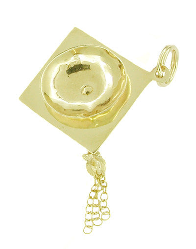 Graduation Cap Pendant Charm with Movable Tassel in 14 Karat Gold - Item: C226 - Image: 1