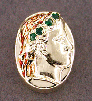 Greco-Roman Classical Profile Slide Set with Emeralds in 14 Karat Gold