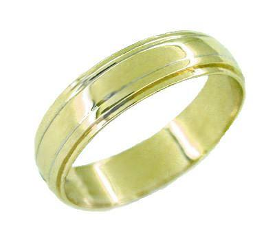 Vintage Men's Grooved Wedding Band Ring in 14 Karat Gold