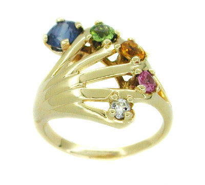 Vintage Rainbow Hand Ring Set with Blue and Pink Sapphires, Peridot, Citrine, and Diamond in 14 Karat Gold - Item: R177 - Image: 1