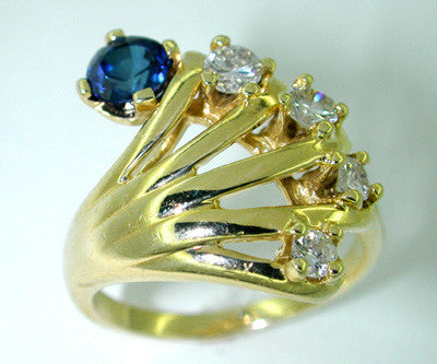 Hand Ring Set with Sapphire and Diamonds in 14 Karat Gold