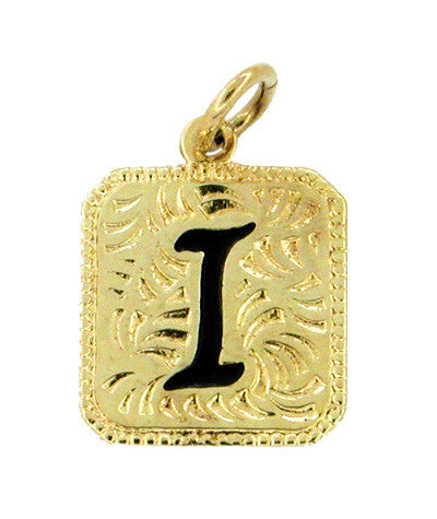 "Hawaiian Heirloom Enameled Letter ""I"" Charm in 14 Karat Gold"