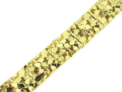 Heavy 15.5mm Men's Nugget Bracelet in 14 Karat Gold