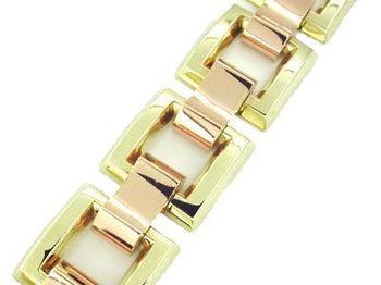 Heavy Link Mixed Metals Retro Moderne Estate Bracelet in 14 Karat Pink and Yellow Gold