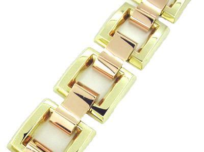 Heavy Link Retro Moderne Estate Bracelet in 14 Karat Pink and Yellow Gold