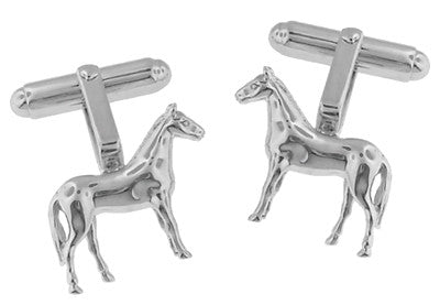 Horse Cufflinks in Sterling Silver - Item: SCL128 - Image: 2