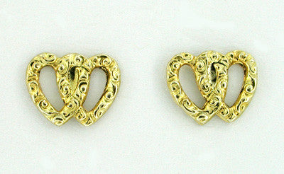Interlocking Hearts Stud Earrings in 14 Karat Gold