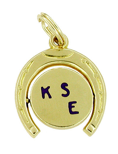 Kiss Me Movable Lucky Horseshoe Charm in 14 Karat Gold
