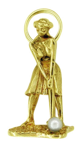 Lady Golfer Moveable Charm in 14 Karat Gold With Pearl - Item: C140 - Image: 1