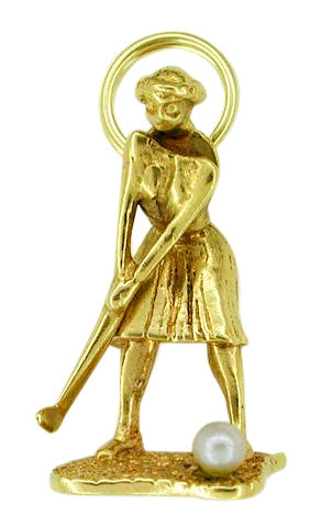 Lady Golfer Moveable Charm in 14 Karat Gold With Pearl