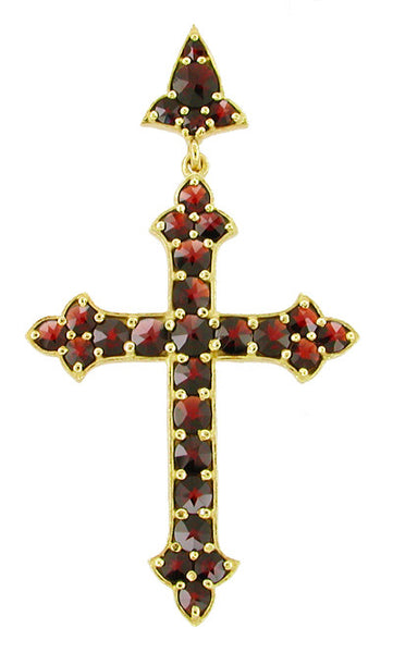 Large Victorian Bohemian Garnet Gothic Cross Pendant in Sterling Silver with Yellow Gold Vermeil