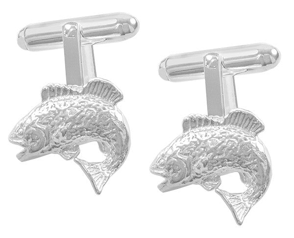Jumping Bass Fish Cufflinks in Sterling Silver