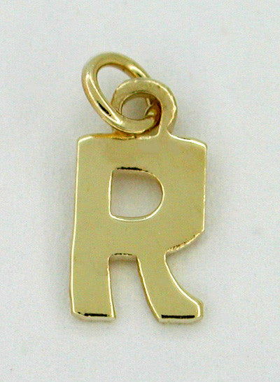 "Letter ""R"" Initial Charm in 14 Karat Gold"