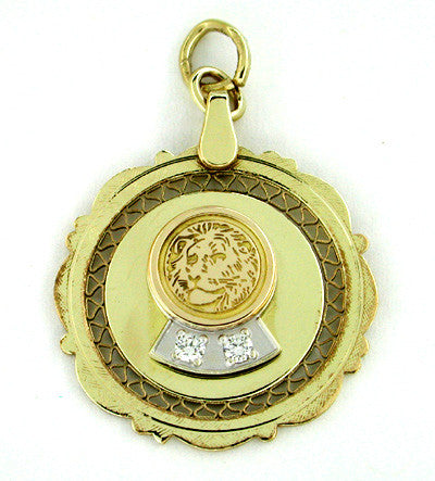 Lion Diamond Pendant in 14 Karat Gold