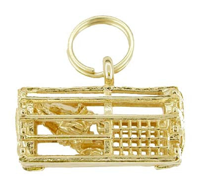 Lobster Trap Charm Pendant - 14K Yellow Gold - with Movable Lobster