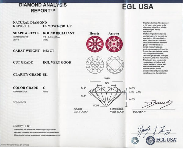 0.62 G SI1 Loose Round Diamond EGL USA Certified | Hearts and Arrows Cut - Item: D361 - Image: 1