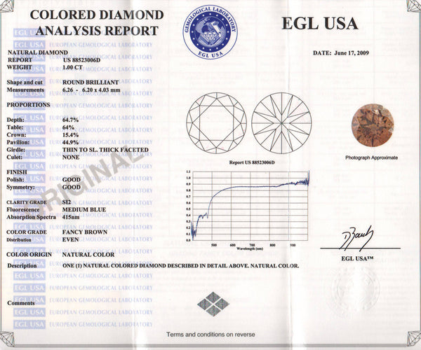 1.00 Carat Brown Sugar Color Natural Fancy Loose Brown Diamond | Round Brilliant Sl2 Clarity - Item: D500 - Image: 1