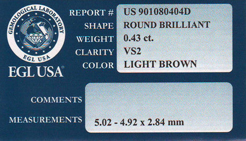 0.43 Carat Natural Cappuccino Color Fancy Loose Light Brown Diamond | Round Brilliant VS2 Clarity - Item: D260 - Image: 1