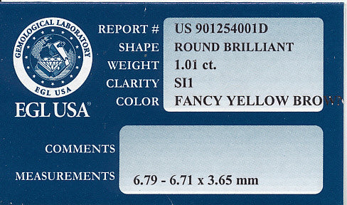 1.01 Carat Natural Fancy Yellow Color Loose Champagne Diamond | Round Brilliant Sl1 Clarity - Item: D264 - Image: 1
