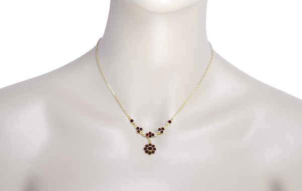 Lovely Victorian Bohemian Garnet Floral Drop Necklace in Sterling Silver and Yellow Gold Vermeil - Item: N112 - Image: 2