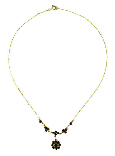 Lovely Victorian Bohemian Garnet Floral Drop Necklace in Sterling Silver and Yellow Gold Vermeil - Item: N112 - Image: 1