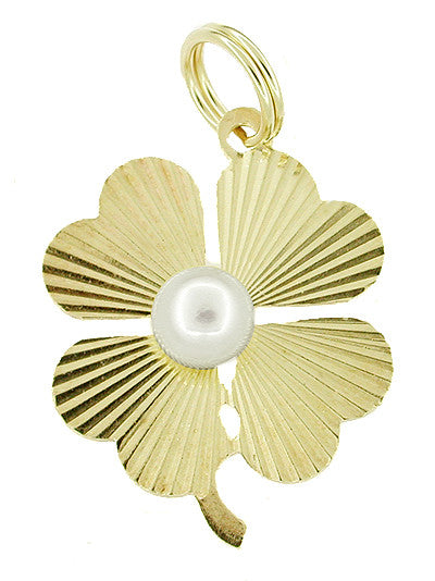 Lucky 4 Leaf Clover Charm Pendant Set with Pearl in 14 Karat Gold