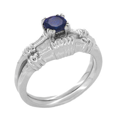 Art Deco Hearts and Clovers Sapphire Engagement Ring in 14 Karat White Gold - Item: R230 - Image: 2
