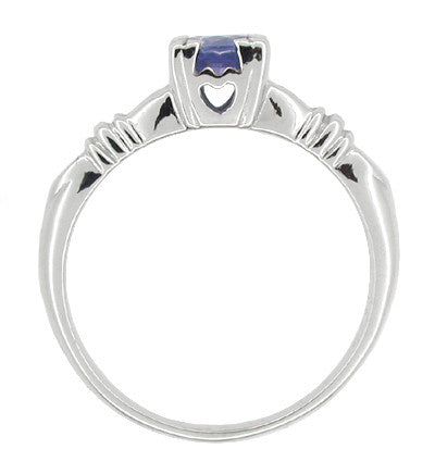 Art Deco Hearts and Clovers Sapphire Engagement Ring in 14 Karat White Gold - Item: R230 - Image: 1