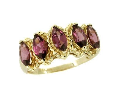 Marquise Garnet Ring in 10 Karat Gold