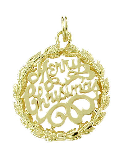Merry Christmas Filigree Medallion Charm in 14 Karat Gold