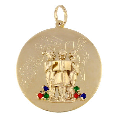 Antique Gem Set Christmas Carolers Pendant in 14 Karat Gold
